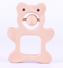 bear wooden teether rattle