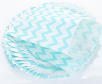 Light Blue Chevron White Kraft Paper Bags For Candy